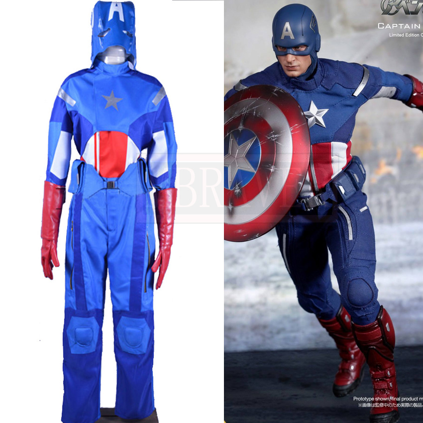 Captain America Steve Rogers Cosplay Costume Avengers Age of Ultron Battle Suit Superman Uniform Custom Made
