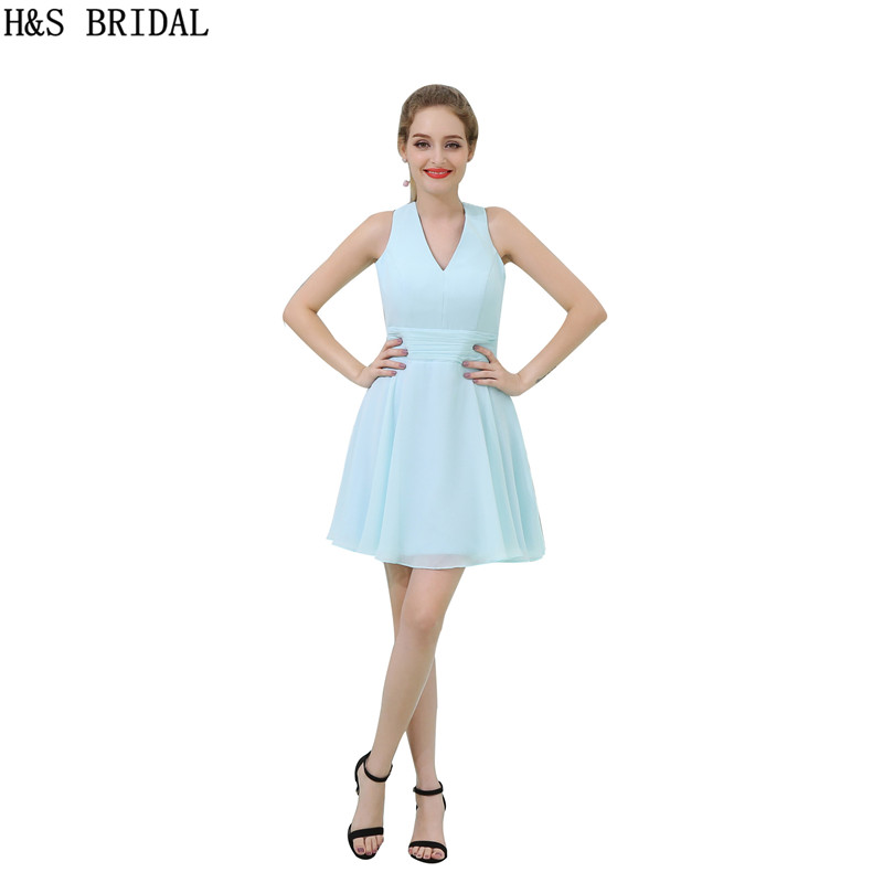 H&S BRIDAL V Neck Chiffon   bridesmaid     dresses   Pleated mini Short   bridesmaid     dress   Backless Wedding Party   Dresses   vestido de festa