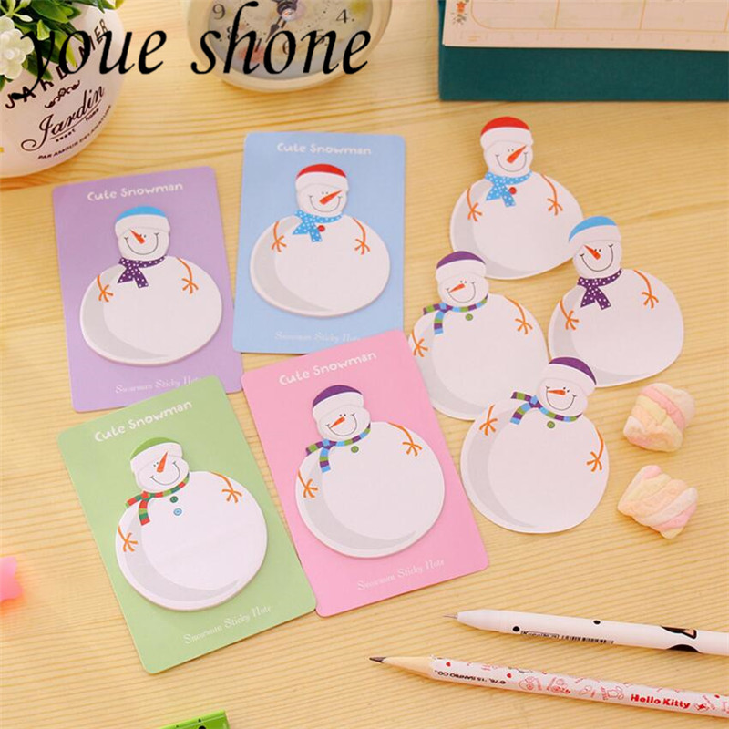 4PCS/15 Pages Kawaii Cute Snowman Memo Pad Post It Sticky Notes Marker Stickers Office And School Stationery Supplies