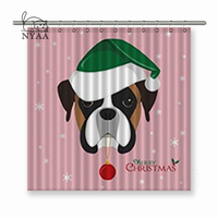 Nyaa Christmas Greeting Card Boxer Dog with Green Santa's Hat and Christmas Toy Ball Polyester Fabric Shower Curtains