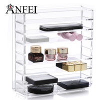 ANFEI Exquisite Design Beauty Acrylic Powder And Eye Shadow Organizer Clear Plastic Blush Organizer The Plates Are Spaced Apart