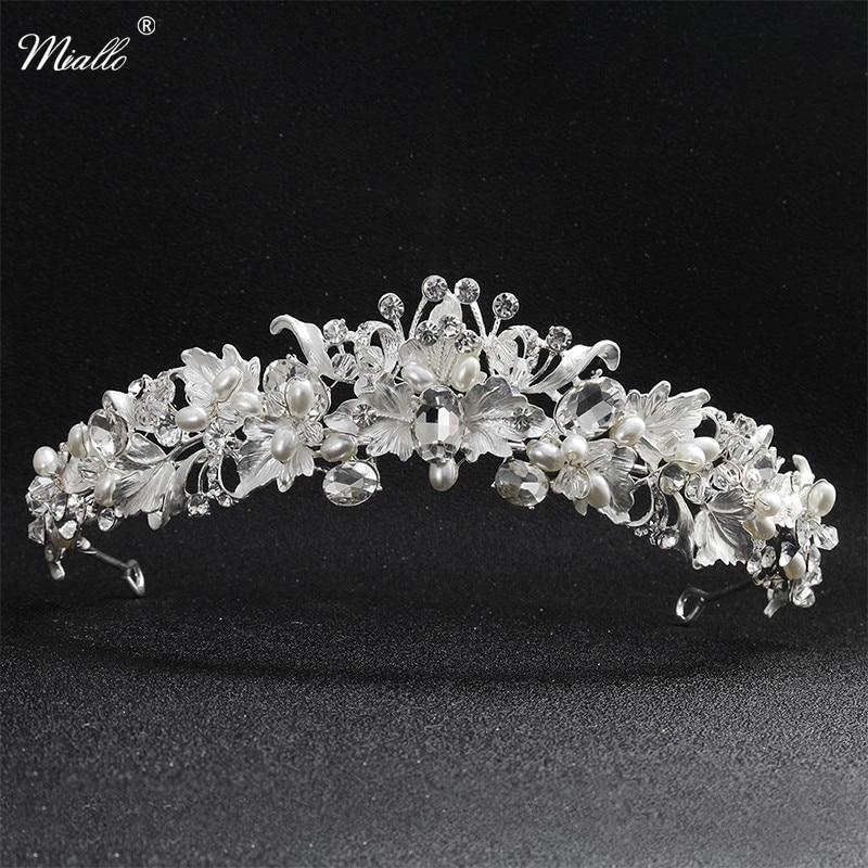 Miallo Newest Beautiful Flower Rhinestone Alloy Tiaras and Crowns Wedding  Hair Accessories Bridal Headpiece for Women ff487aa70934