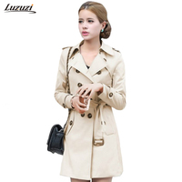 1PC Double Breasted Trench Coat For Women Slim Long Coat Casaco Feminino Abrigos Mujer Spring Autumn