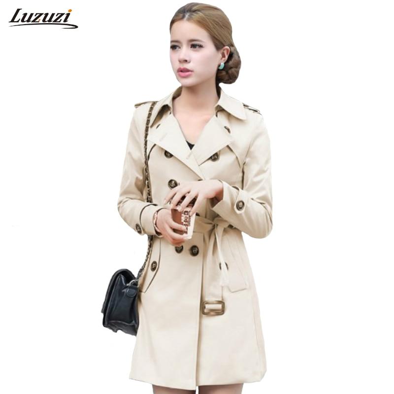 1 Pc Trenchcoat Für Frauen Zweireiher Slim Fit Lange Frühling Mantel Casaco Feminino Abrigos Mujer Herbst Oberbekleidung Z505