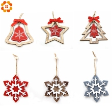 1PC DIY Snowflake/Tree/Bell Christmas Wooden Pendants Ornaments For Party Xmas Tree Hanging Kids Gifts Decorations