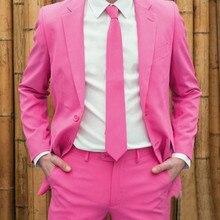 Última moda Pink Color hombres traje Delgado Cena Baile traje de novio  esmoquin boda 2 unidades (chaqueta + pantalones) 16634883893