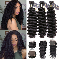 Deep Wave Bundles with Closure 4pcs/lot Brazilian Virgin Hair Bundle Deals Deep Curl Human Hair Weave Extension Natural Color 1b