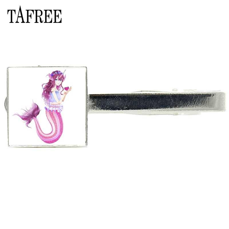 TAFREE Mermaid เอลฟ์ Tie คลิปแก้วอย่างเป็นทางการเนคไทคลิปประณีตแฟชั่นผู้ชายผู้หญิงอุปกรณ์เสริม Tie Pin Bar