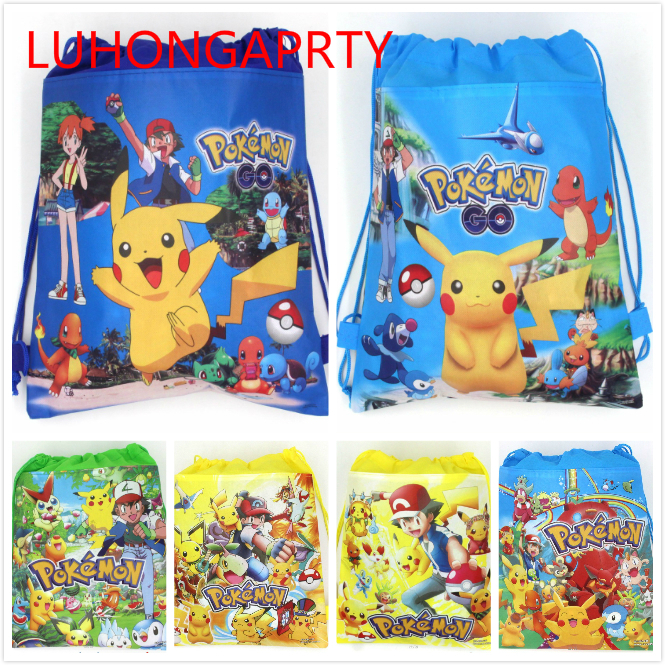 20 pcs 34 * 27 cm Pokemon Pergi non-woven tas kain serut ransel, tas hadiah tas sekolah