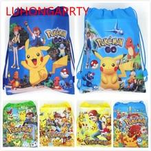 Pokemon Go cartoon non-woven fabrics drawstring backpack,schoolbag,shopping bag 1pcs цена
