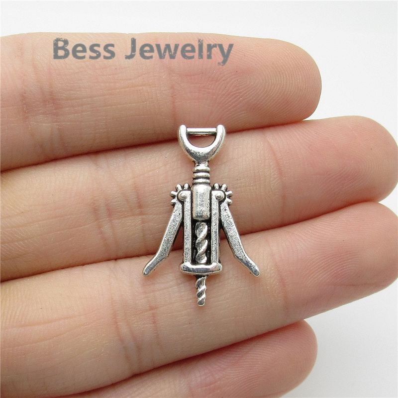 12pcs red wine bottle opener antique silver charms pendants jewelry DIY 26*17mm