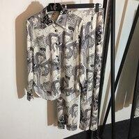 2019 Летняя шелковая длинная фатиновая юбка комплект женский цветок модный принт блузка и юбка комплект из 2 предметов