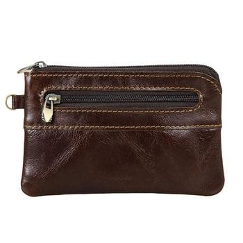 THINKTHENDO Men's Women's Genuine Leather Coin Purse Zipper Wallet Card Holder Vintage Retro thinkthendo vintage men crazy horse leather bifold wallet genuine leather wallet card holder