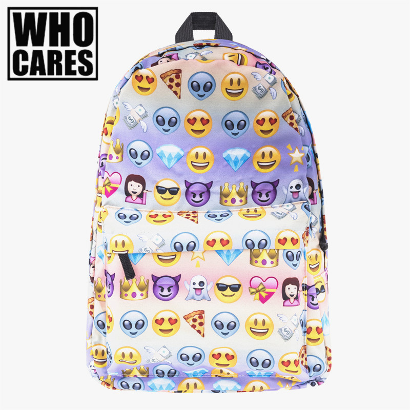 Emoji Print for teenage girls sac a dos canvas backpack Who Cares Soft Handle bookbag school bags backpack women mochila vintage cute owl backpack women cartoon school bags for teenage girls canvas women backpack brands design travel bag mochila sac