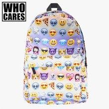 Emoji Imprimer pour adolescentes sac à dos toile sac à dos Qui Se Soucie Poignée Souple bookbag école sacs à dos femmes mochila