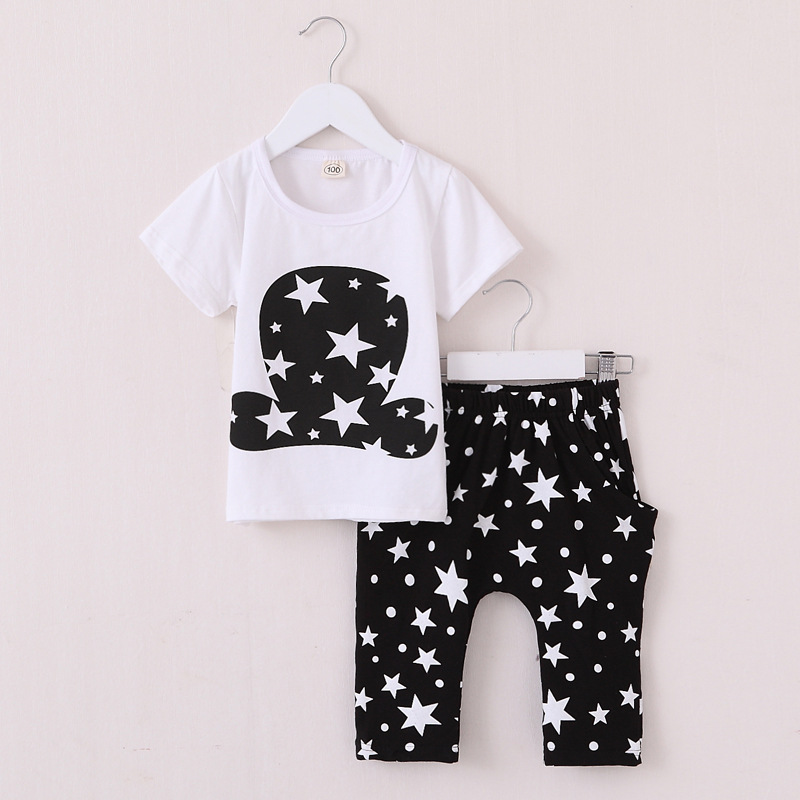 Cotton Baby Boys Girls Clothing Set Summer 2016 New Kids Clothes for Boys Hat Stars Children Toddler Clothes Shirts+ Short Pant