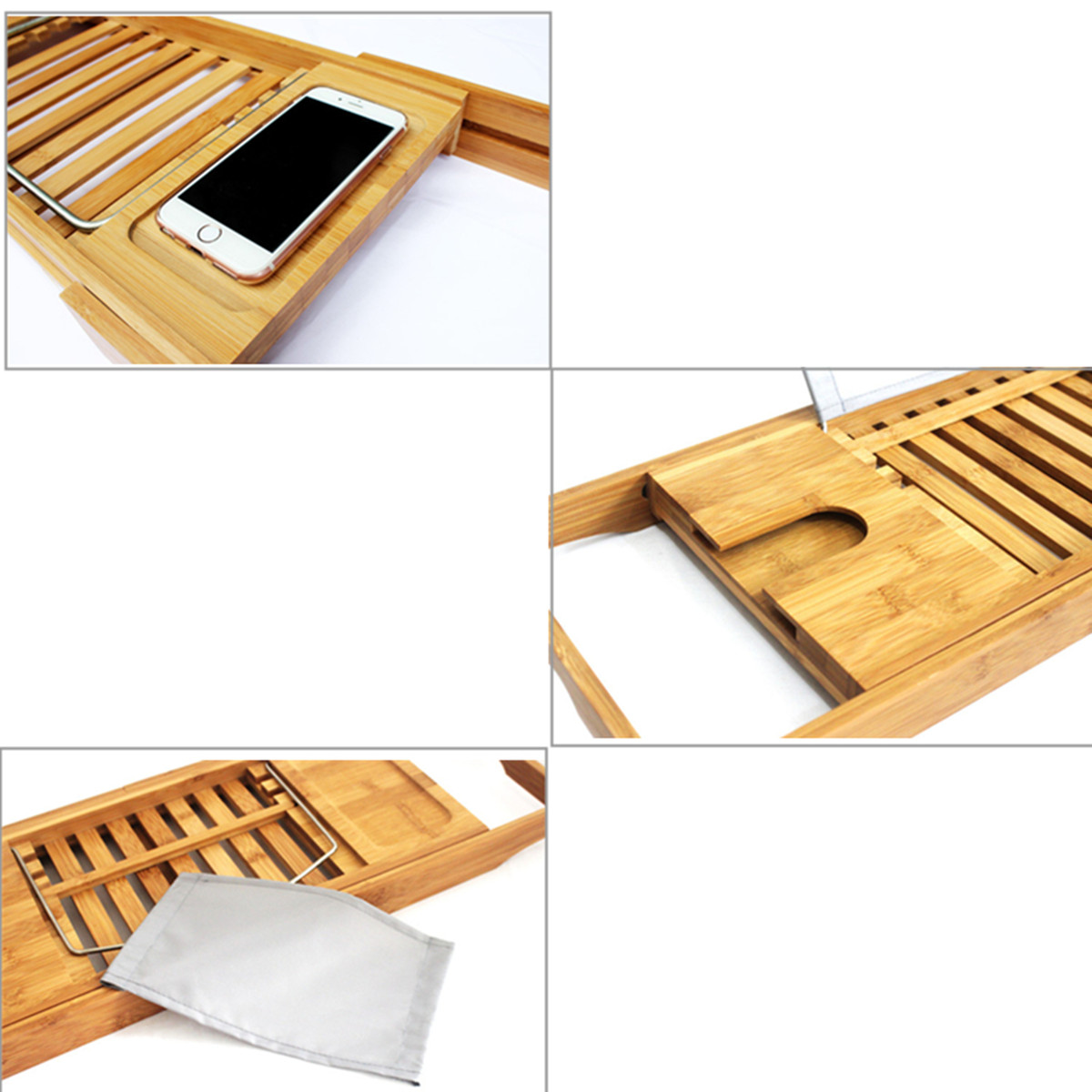 Extendable Bathroom Bamboo Bath Caddy Wine Glass Book Holder Bathtub ...