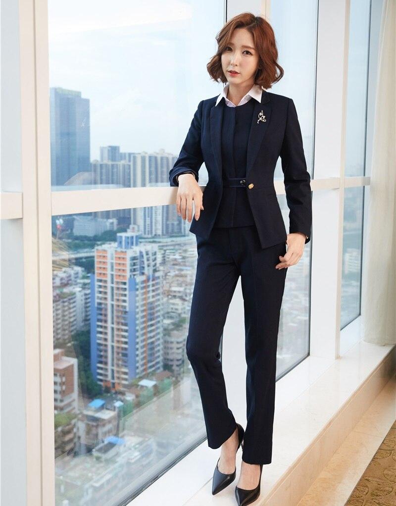 Pant Suits Women Business Suits 3 Piece Vest Pant And Jacket Sets Work Wear Ladies Blue Blazers Office Uniforms Styles Suits & Sets