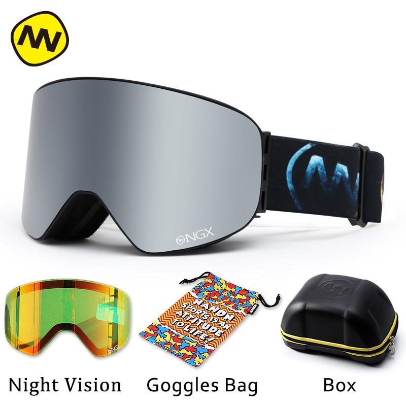 NANDN лыжные очки, очки для катания на лыжах, двойные линзы, UV400, анти туман, для взрослых, сноуборд, лыжные очки, женские, мужские, снежные очки - 5