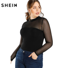 SHEIN Black Plus Size Blouse Shirt For Women Fashion Transpa