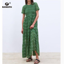 ROHOPO Women Summer Maxi Printed Dress Pleated Short Sleeve Tunic Mutilways Half-calf Dress Red Vogue Ladies Party Dresses цена