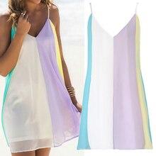 2019 Summer Mini Beach Dress Women Chiffon Rainbow Dress Casual Women Clothes 2019 V Neck Sleeveless Striped Dress grey casual see through chiffon v neck curved mini dress