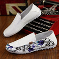 England Genuine Leather Shoes White Fashion Casual Men Shoes Skull Pattern Zapatos Hombre Free Shipping