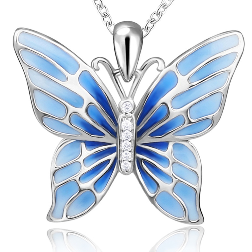 SG 925 Sterling Silver aestheticism Chain Necklace animal Butterfly CZ Fine Jewelry silver colour Necklaces Pendants for women