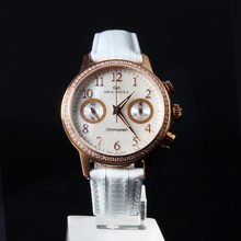 Seagull Rhinestones Bezel Mother of Pearl Dial White Genuine Leather Band Women Chronograph Watch 719.754L