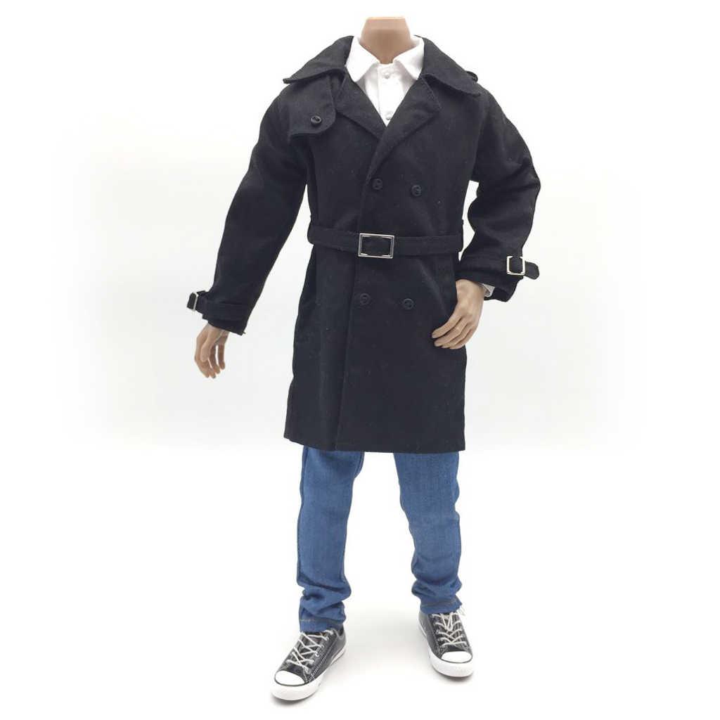 MagiDeal 1/6 Calças Rude Do Corpo Calças de Jeans Denim Casaco Jaqueta Masculina Casaco Longo para 12 ''ZC ZY Brinquedos Dragão boneca Figuras de Ação DML
