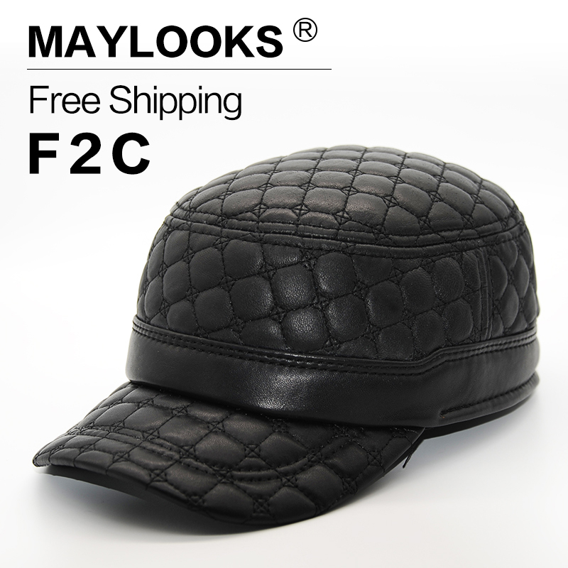 Maylooks 2017 Fashion Style Genuine Leather Baseball Cap/hat for Men Brand New Men's High Quality Adjustable Army Caps/hats CS39