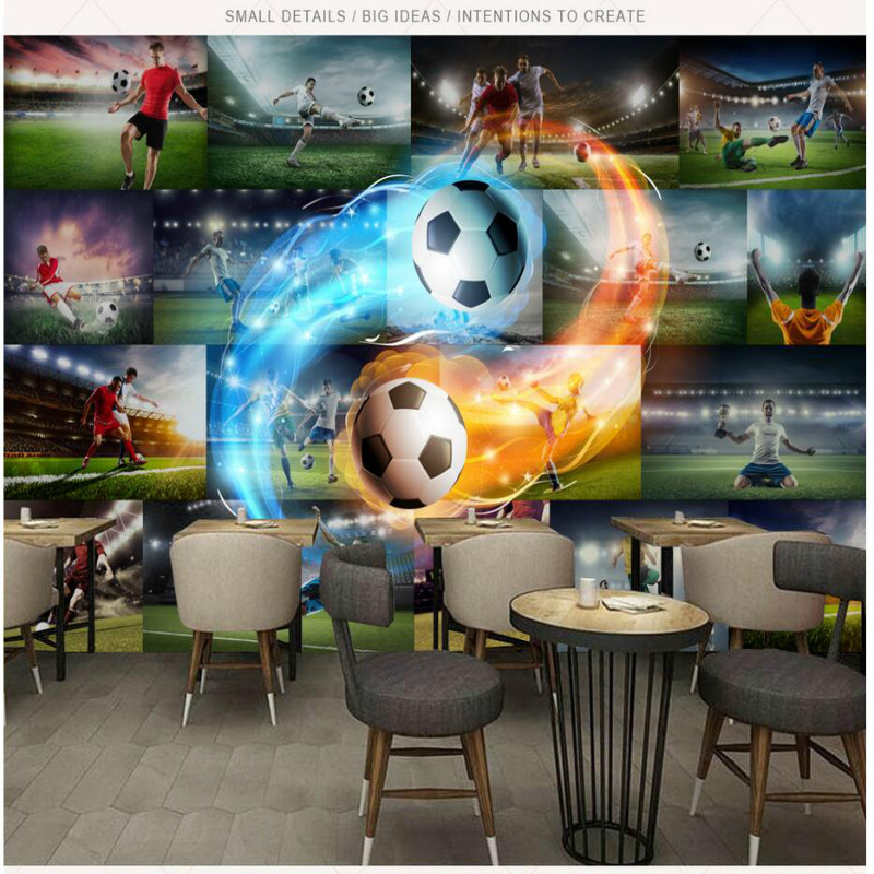 3D Wallpaper for Walls 3d Football Flame Photo Wall Paper TV Background Painting Mural Wallpapers Home Improvement Decorate shinehome nature banana leaf wallpaper 3d photo wallpaper rolls for walls 3 d livingroom wallpapers mural roll paper background