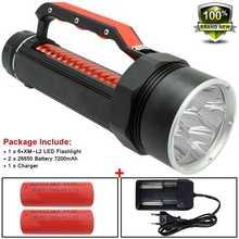 Mạnh Mẽ Led 10000 Lume Đèn Pin Dưới Nước Săn Bắn Lặn Đèn Pin 26650 XM L2 Chân Vịt Lặn Đèn Đèn Pin X900 Pin & Bộ Sạc