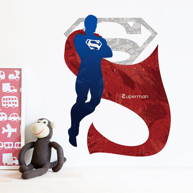 Cartoon Superman Wall Stickers For Kids Rooms Liviing Room Decals Home Decor Wallpaper Mural Background Sticker