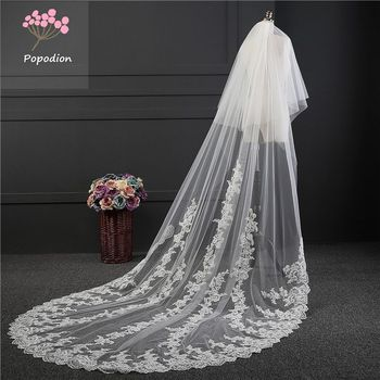 Cover face wedding accessories 3 meter lace cathedral wedding veil long wedding veil bridal veils for bride with comb WAS10067