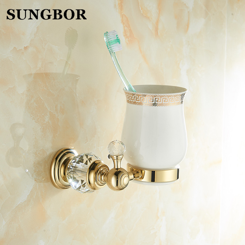 Gold Double Tumbler Holder Brass+Crystal+Ceramics Embedded Cup&Tumbler Holders Tumbler Toothbrush Holder Bathroom Accessory image