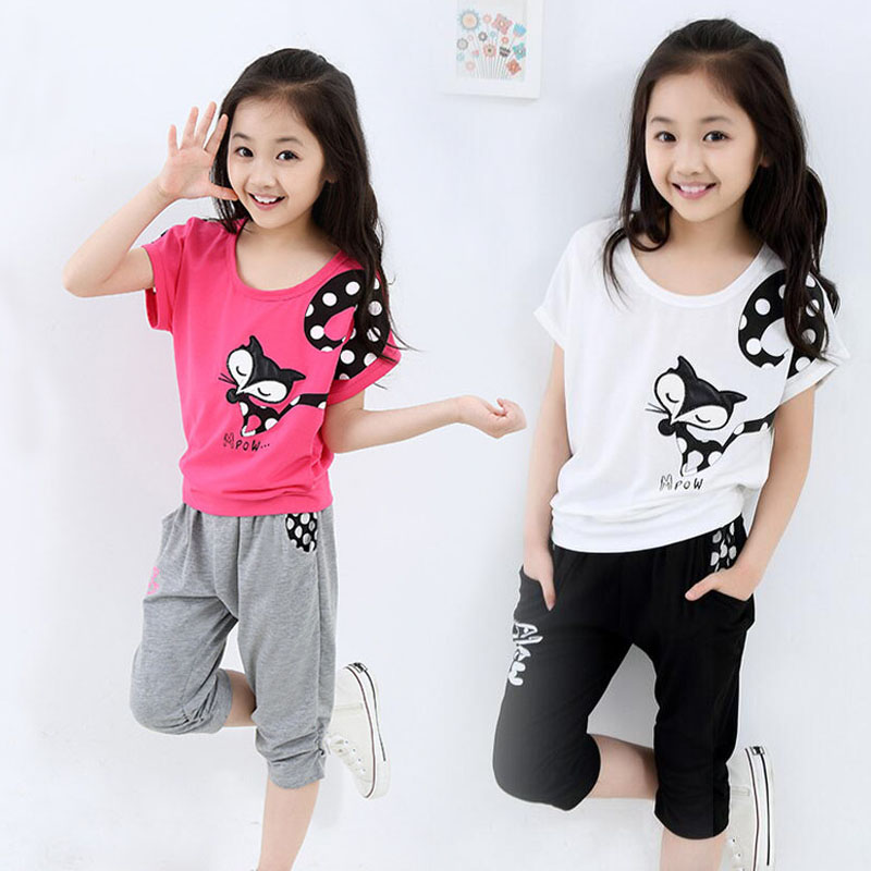 2017 Summer Style Girls Casual Cartoon Clothing Sets 3-14 Years Kids Fashion T-shirt + Capris Pants Children Clothes Suits - elves of children store