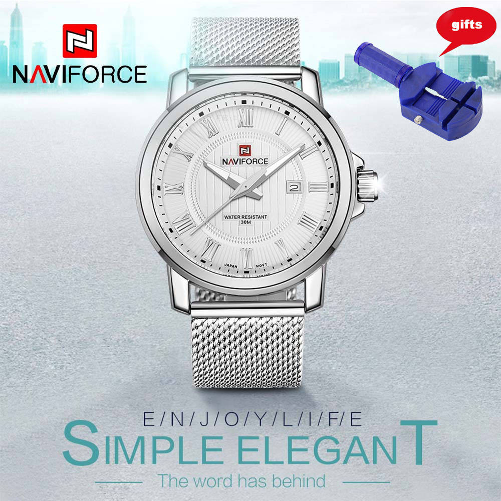 NAVIFORCE Luxury Brand Men Watch Stainless Steel Strap Analog Date Quartz Casual Watches Relogio Masculino Free for Regulator original curren luxury brand stainless steel strap analog date men s quartz watch casual watch men wristwatch relogio masculino