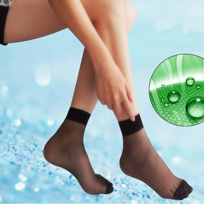 10 Pairs Women Grils Summer   Socks   Fashion Solid Casual Ultra-thin Fiber Transparent Pure Colors Ankle High Pop Short   Socks   2019
