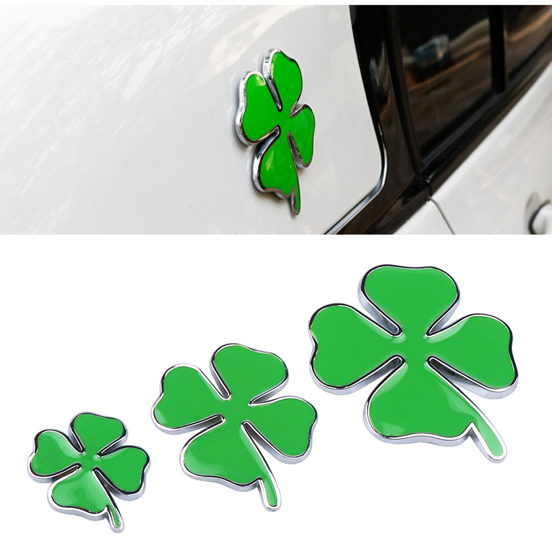 1pcs Green Clover Day Badge FOR Alfa Romeo Four Leaf Clover Chrom Metal Car Styling Emblem Sticker Love Healty Lucky Symbol