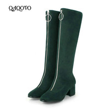 Women Faux Suede Knee High Boots Fashion Zipper Boots comfy Thick Heel Square Toe Autumn Winter Boots Black Gray Green hot sale women fashion round toe leopard suede leather knee high thick heel boots elegant buckle design long boots