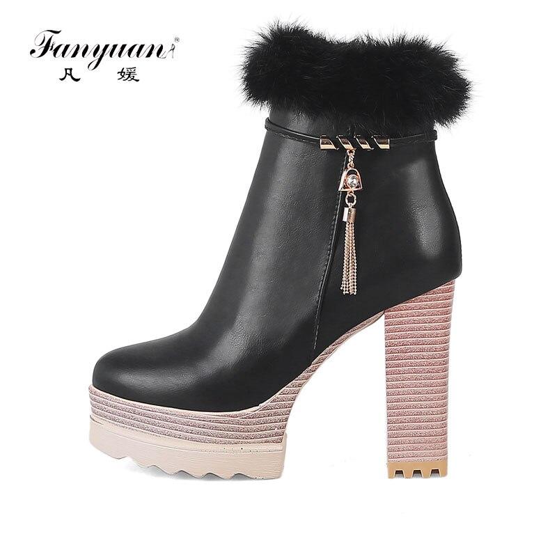 Hauts Rond Bonne Fur De Femmes Bout 2018 pink Dames Chaussures With Souple Fanyuan Talons Bottes Qualité En Black Automne Fur Strass Nouveau Cheville Cuir g6pnxwafqv