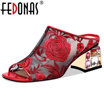 FEDONAS Elegant Sexy Square Toe Peep Toe Rome Women Sandals Breathable Embroider Mesh Crystal Decoration High Heels Party Shoes