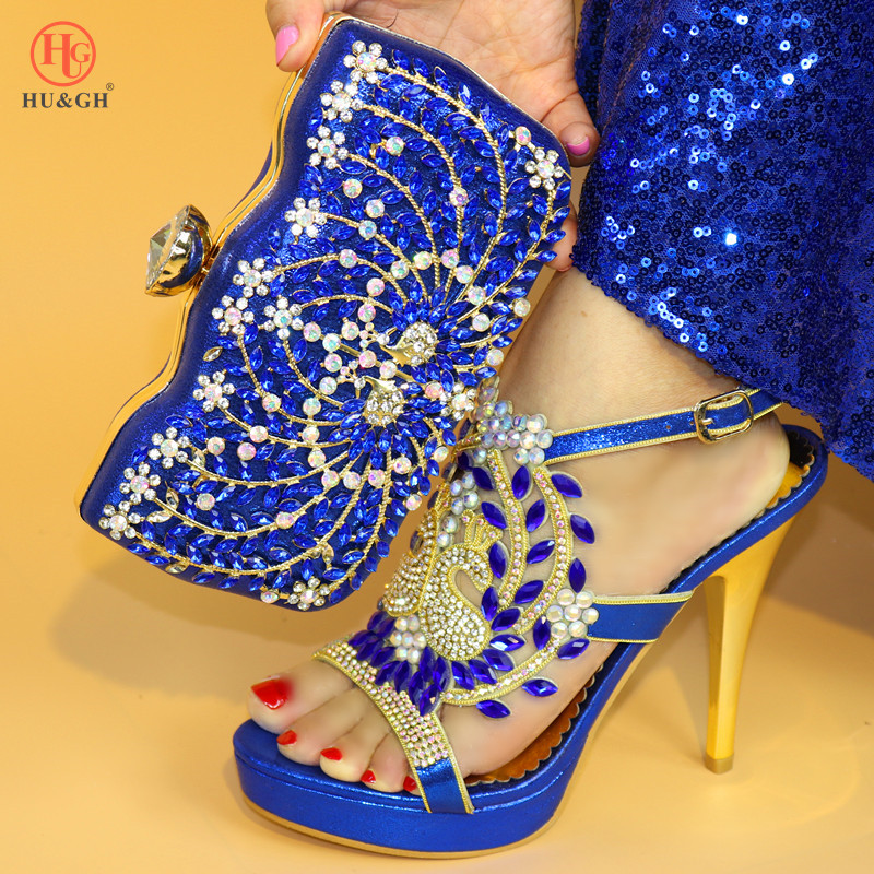 цены Ladies Italian Leather Blue Shoes and Bag Set Italian Shoes with Matching Bags Heels Wedding African Shoe and Bag Set for Party