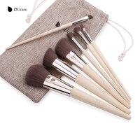 DUcare Makeup Brushes 7Pcs Professional Makeup Brush Set Bamboo Foundation Eyeshadow Brush With Leather Bag Make