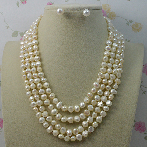 Genuine Baroque Pearl Jewelry Set Natural Freshwater Pearl Necklace Earrings 7-8mm 4 Rows Magnet Clasp Fine Jewelry For Woman classical malachite green round shell simulated pearl abacus crystal 7 rows necklace earrings women ceremony jewelry set b1303