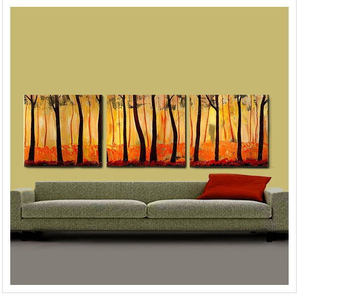 Firing Forest 3 piece canvas wall art abstract oil paintings modern ...