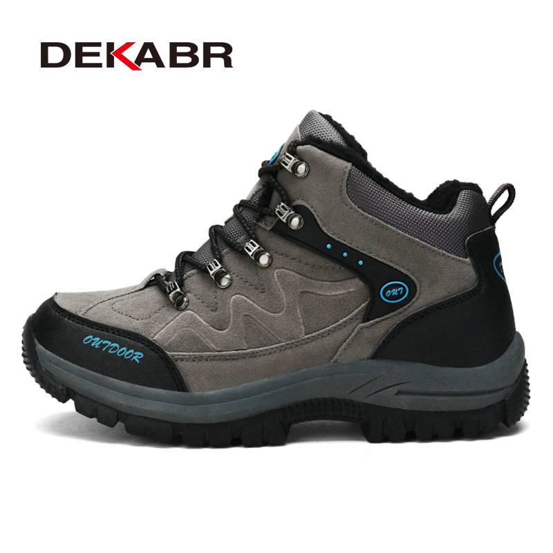 DEKABR New Winter Men Outdoor Hiking Boots Shoes High Quality Brand Pu Leather Mountain Shoes Male Sport Shoes Plus Size 36~48 big size 46 men s winter sneakers plush ankle boots outdoor high top cotton boots hiking shoes men non slip work mountain shoes