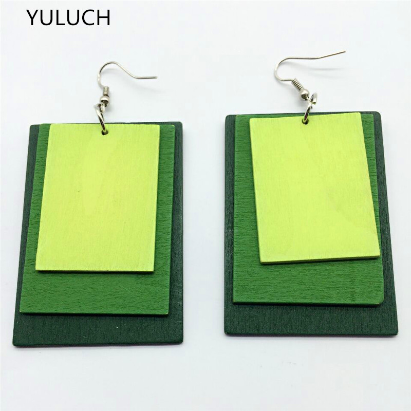 new design personality Throad latest good quality wood colorful butterfly earrings jewelry pair 2016
