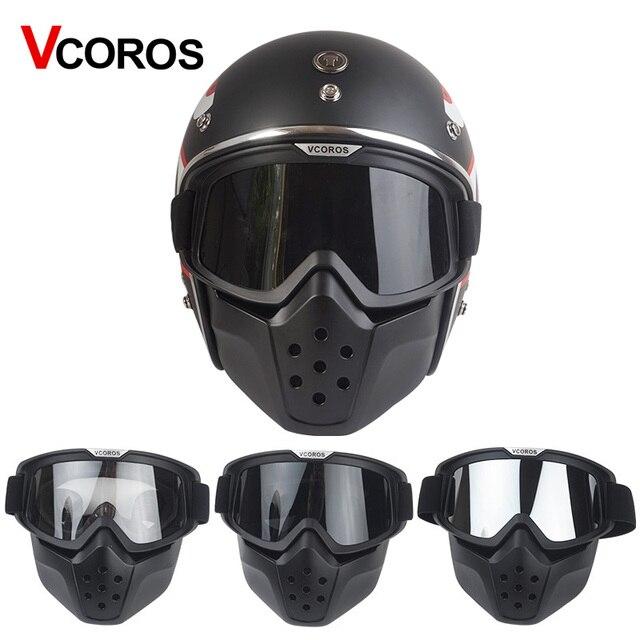 143f6fe55cc6a VCOROS máscara capacete da motocicleta do vintage óculos Removível e boca  tipo de filtro máscara de
